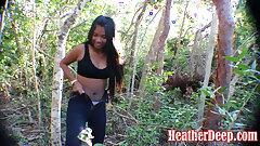 Thai teen Heather Deep showcasing tits in the public