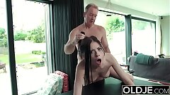 Hardcore Fuck For Teen Sucking cock swallows jism Getting Fucked By Aged Man