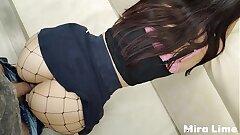 Hot schoolgirl in skirt sans panties penetrates with schoolteacher