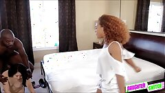 Hot and sexy teen Nami making it with her bffs stepparent in the couch