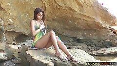 Mega hot skinny nubile draining on the beach