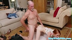 Petite ginger nubile pussydrilled by elderly man