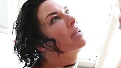 Babe In Fishnets Takes Trouser snake In All Her Holes