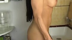MILF Angela humps kitchen counter to climax