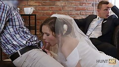 HUNT4K. Ultra-cute teenager bride gets fucked for cash in front of her groom