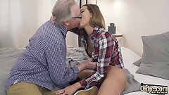 Ex-Girlfriend Rails With Her Vagina And Grandpa Fucks Her Mouth