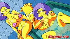 In the bathtub with the twin sisters - The Simptoons